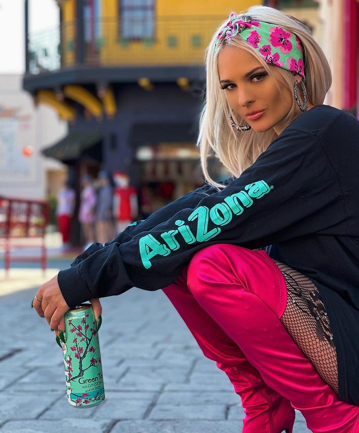Ava Marie Capra Sponsoring Drink Arizona while wearing their sweater.