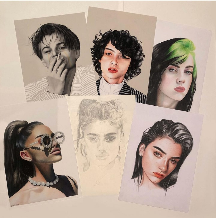 Fully drawn artwork of five celebrities and one unfinished face done by Julia Gisella.