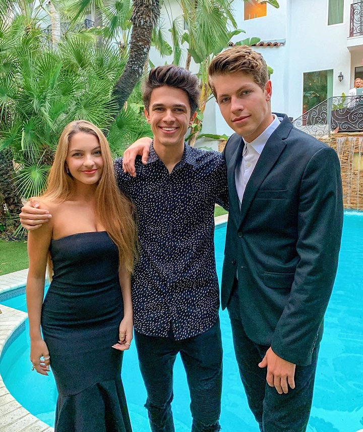 (From Left) Lexi Brook Rivera, Brent Rivera, and Ben Azelart pictured by the pool.