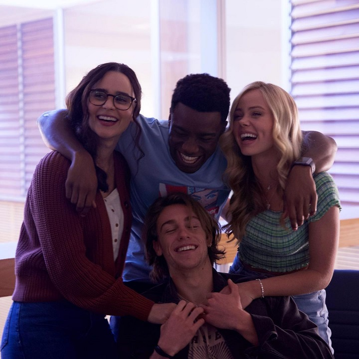 (From left) Marianly Tejada with her 'One of Us Is Lying' castmates Chibuikem Uche, Cooper van Grootel and Annalisa Cochrane.